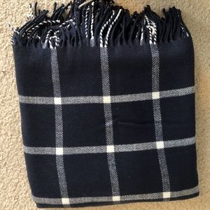 Navy and White Plaid Wrap Scarf